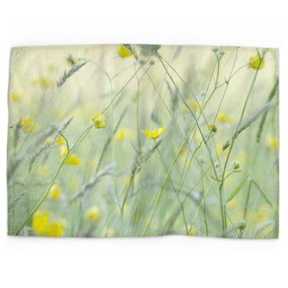 Tea Towel in Buttercup Meadow Flower Design.