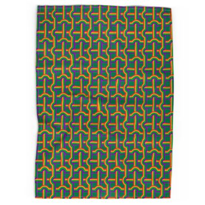 Green Rainbow Grid pattern tea towel