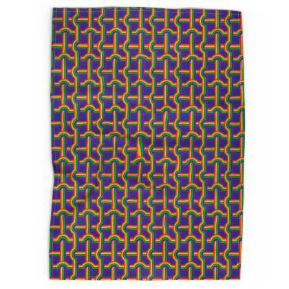 Blue Rainbow Grid pattern tea towel