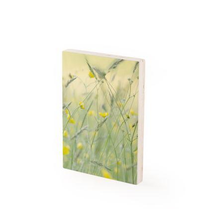 Wood Print in Buttercup Meadow Flower Design
