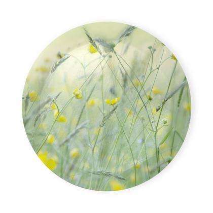 Round Coaster Tray in Buttercup Meadow Flower Design.