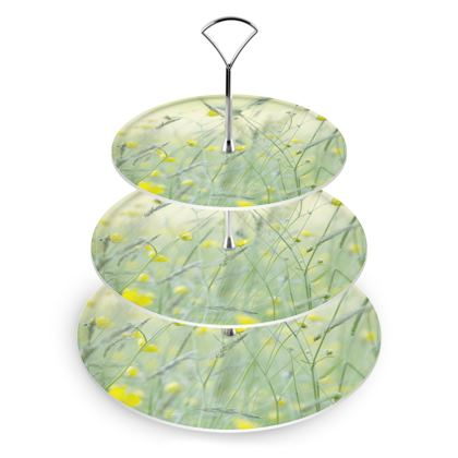 Cake Stand in Buttercup Meadow Flower Design