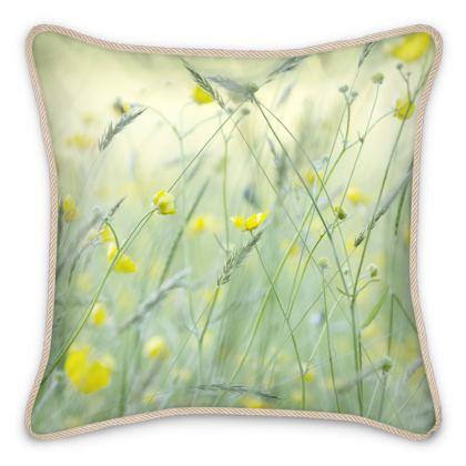 Silk Cushions in Buttercup Meadow Flower Design.