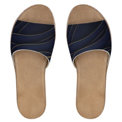 Womens Leather Sliders