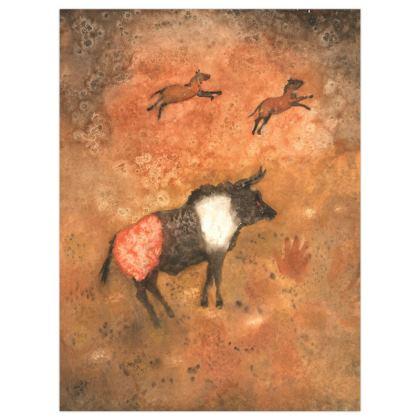 Satin Poster Print : Title: Miro Red Auroch. Prehistoric : Cave Paintings : Handprint : Neanderthal