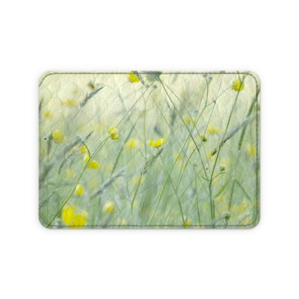 Leather Card in Buttercup Meadow Flower Design