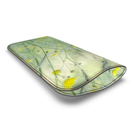 Leather Glass Case in Buttercup Meadow Flower Design