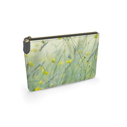 A Leather Pouch in Buttercup Meadow Flower Design