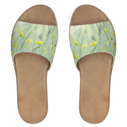 Women Leather Sliders in Buttercup Meadow Flower Design