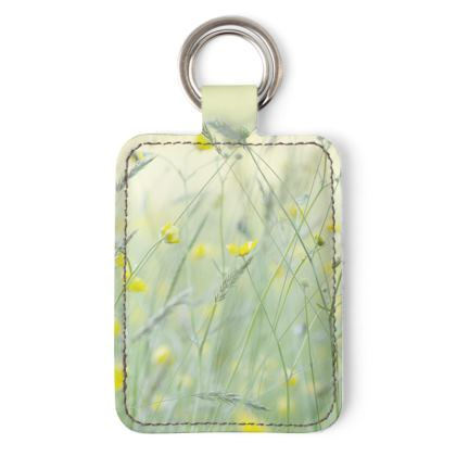 Leather Keyring in Buttercup Meadow Flower Design.