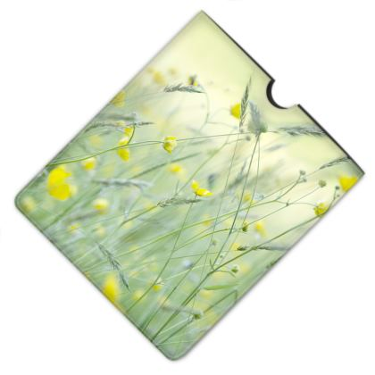 Leather iPad Case in Buttercup Meadow Flower Design