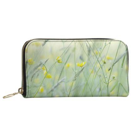 Leather Zip Purse in Buttercup Meadow Flower Design