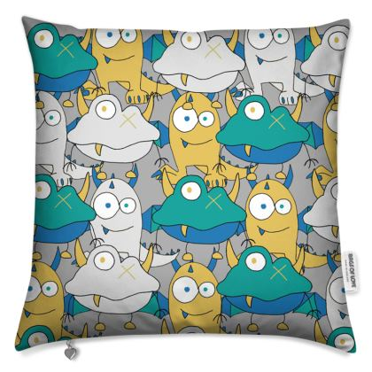 Leo, Colourful Monster, Grey Children's Cushion Cover Designed by Spoilt By Jade