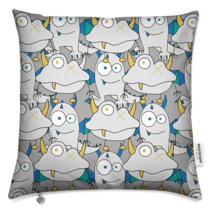 Leo Grey on Grey Monster Printed Children's Cushion Cover Designed by Spoilt By Jade