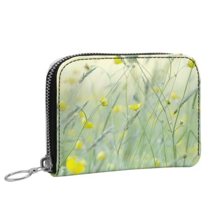 Small Leather Purse in Buttercup Meadow Flower Design