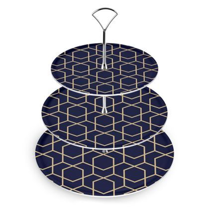 Cake Stand Geometric Blue-Black Gold Lined Pentagon