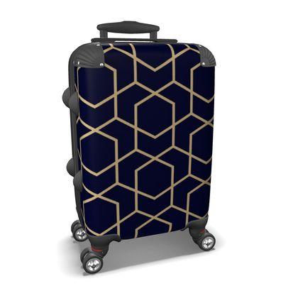 Suitcase Geometric Blue-Black Gold Lined Pentagon