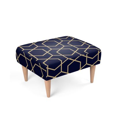 Footstool Geometric Blue-Black Gold Lined Pentagon
