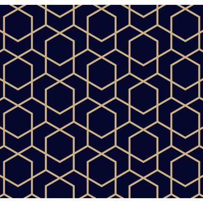 Luggage Tags Geometric Blue-Black Gold Pentagon
