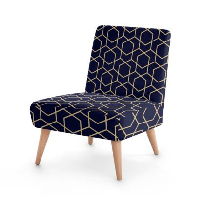 Occasional Chair Geometric Blue-Black Gold Lined Pentagon