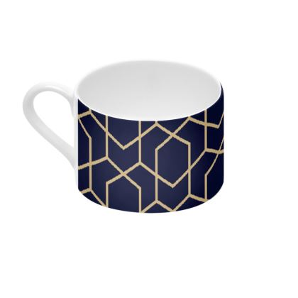 Cup and Saucer Geometric Blue-Black Gold Lined Pentagon