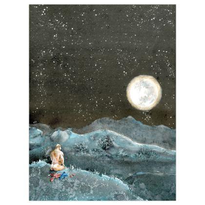 Satin Poster Print : Title: Adam Before Eve : Moon : Moonlight : Sensual : Nudity : Graphic : Mountainous
