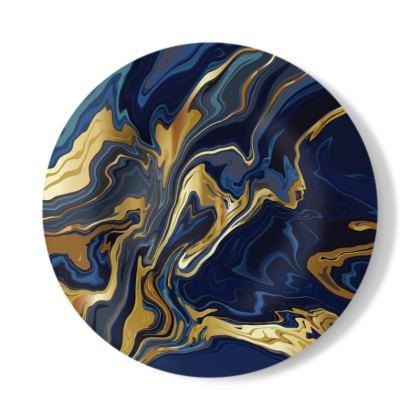 Decorative Plate Indigo Ocean