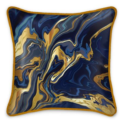 Silk Cushions Indigo Ocean