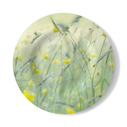 Decorative Plate in Buttercup Meadow Flower Design