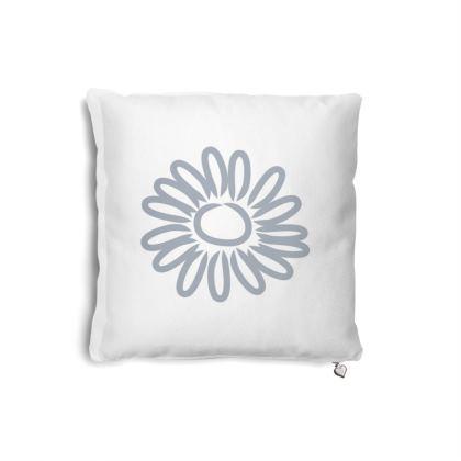 Blue Daisy on White Cushion