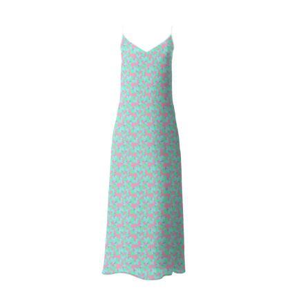 Slip Dress  Oriental Leaves  Bluebird