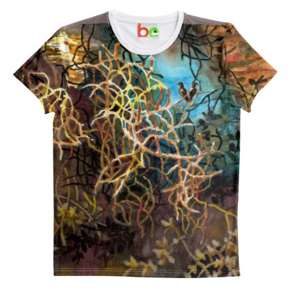 Mens Cut And Sew T-Shirt. Psychedelic : Oriental : Wilderness : Jungle