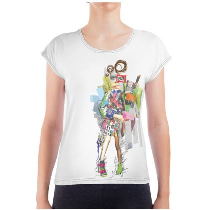 Ladies T- Shirt with Collaged Fashion Illustration