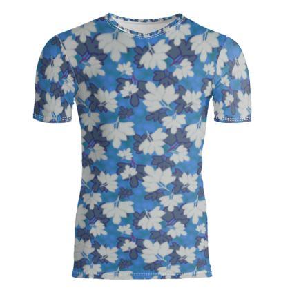 Slim Fit Mens T - Shirt  Oriental Leaves  Blue Stream