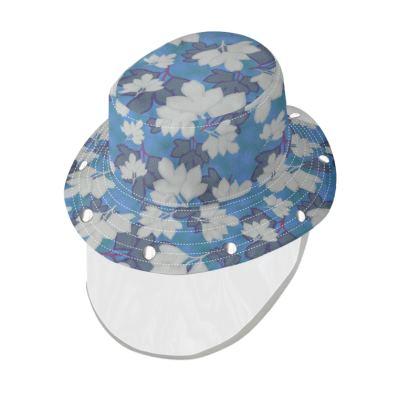 Bucket Hat With Visor  Oriental Leaves  Blue Stream
