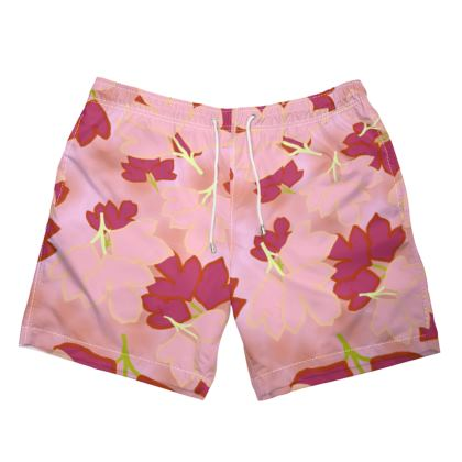 Mens Swimming Shorts  Oriental Leaves  Fruit Smoothie
