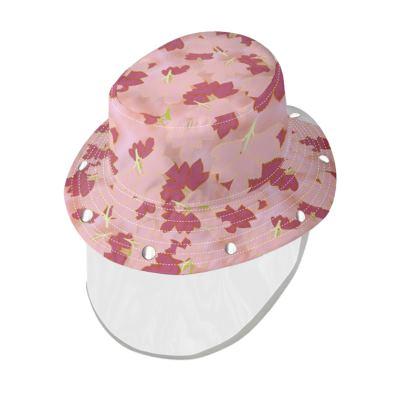 Bucket Hat With Visor  Oriental Leaves  Fruit Smoothie