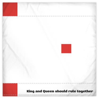 King and Queen red and white Duvet cover and Pillow set
