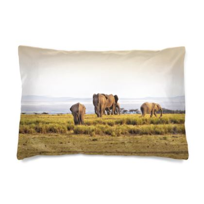 Pillow Case of herd of elephants walking towards the Sunset