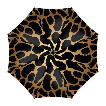 Umbrella Black Gold Leopard Print
