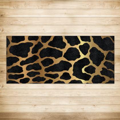 Rugs Black Gold Leopard Print
