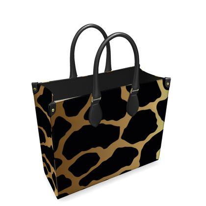 Leather Shopper Bag Gold Leopard Print