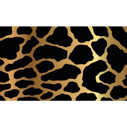 Zip Top Handbag Gold Leopard Print