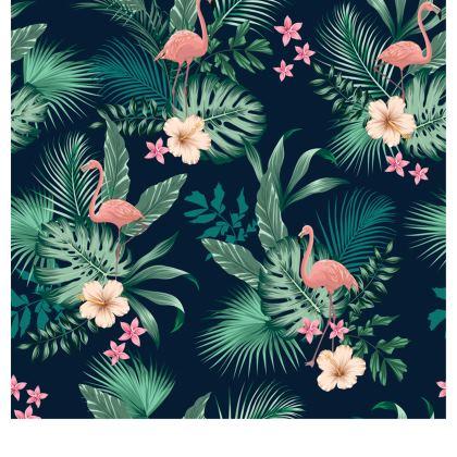 Zip Top Handbag Tropical Pink Flamingo