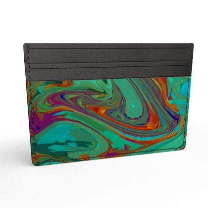 Leather Card Holder - Abstract Diesel Rainbow 2