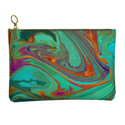 Leather Clutch Bag - Abstract Diesel Rainbow 2