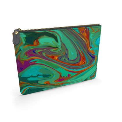 Leather Pouch - Abstract Diesel Rainbow 2
