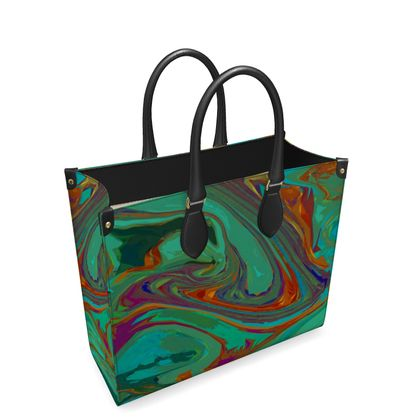 Leather Shopper Bag - Abstract Diesel Rainbow 2