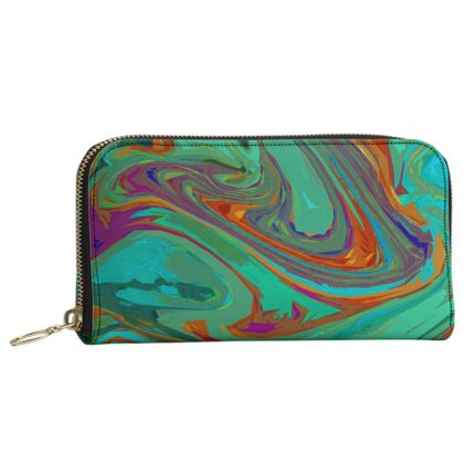 Leather Zip Purse - Abstract Diesel Rainbow 2