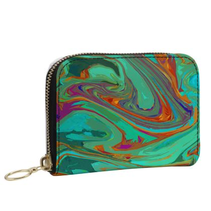 Small Leather Zip Purse - Abstract Diesel Rainbow 2